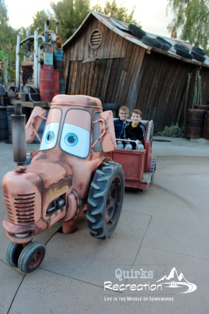 boys riding Mater's Jamboree California Adventure
