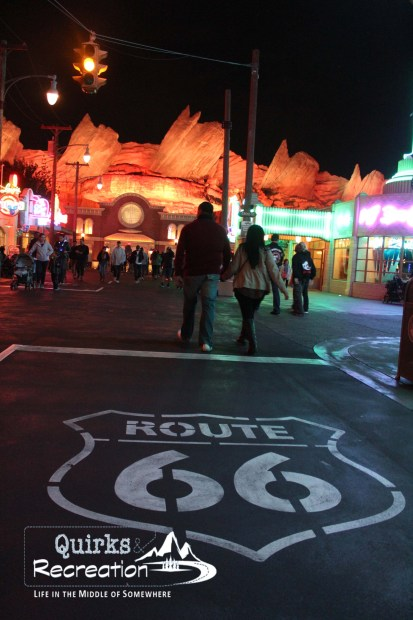Route 66 Carsland at night