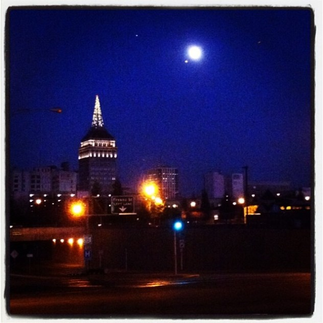 Moon chasing in Downtown Fresno. I believe in January, 2014. Photo: Eve Hinson