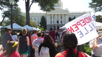 Marched to the Capitol building with friends and folks from Resources for Independence Central Valley.