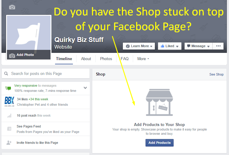 Facebook Shop - How To Remove | Quirky Biz Stuff
