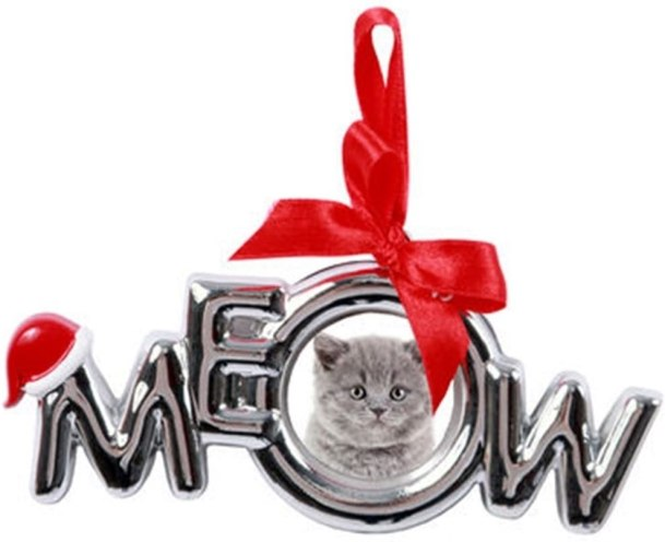 picture frame christmas ornament saying meow