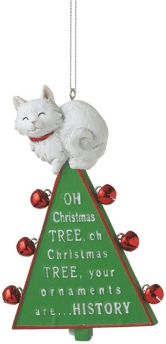 cat on top of tree ornament