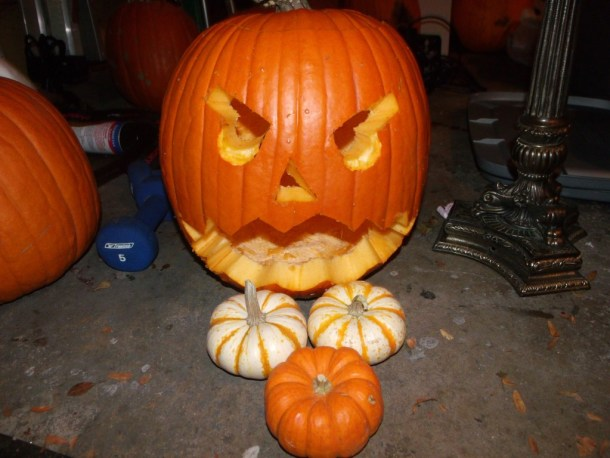 The fist carved pumpkin