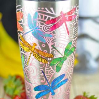 This stainless steel dragonfly tumbler keeps cold things cold and hot things hot! It's a great gift idea