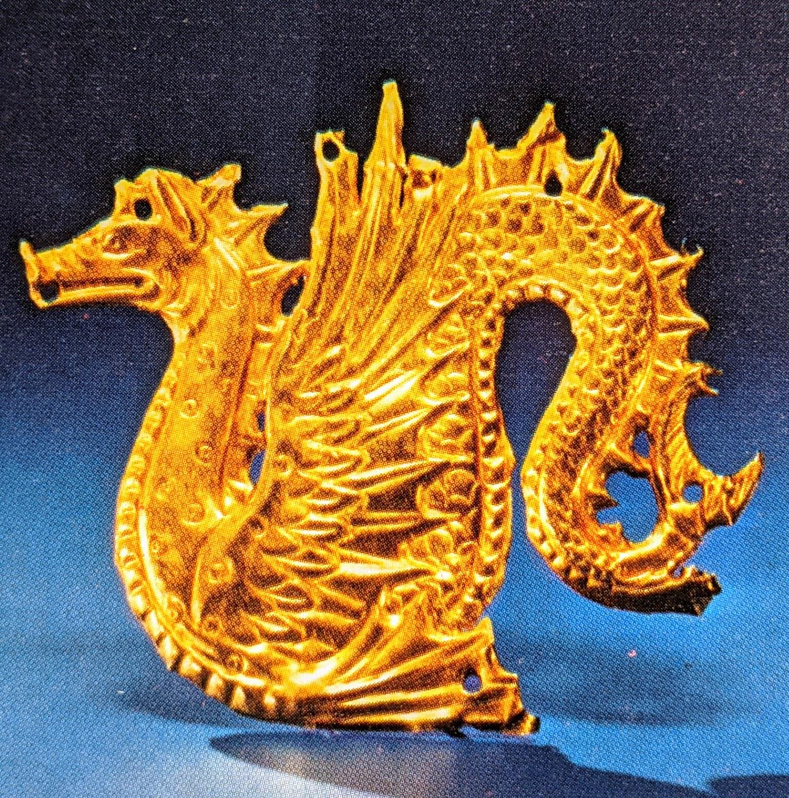 Ketos (sea monster) gold applique plaque