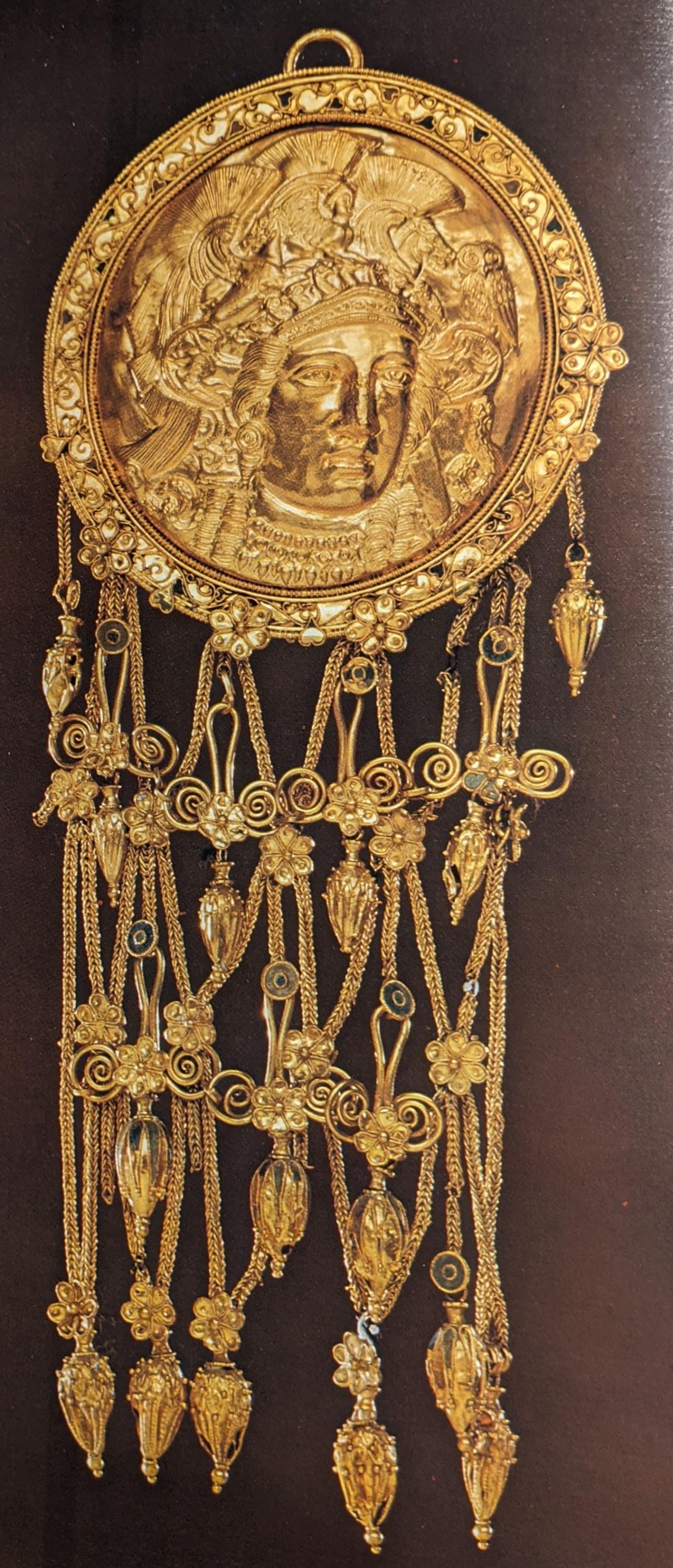 Large gold pendant of Athena