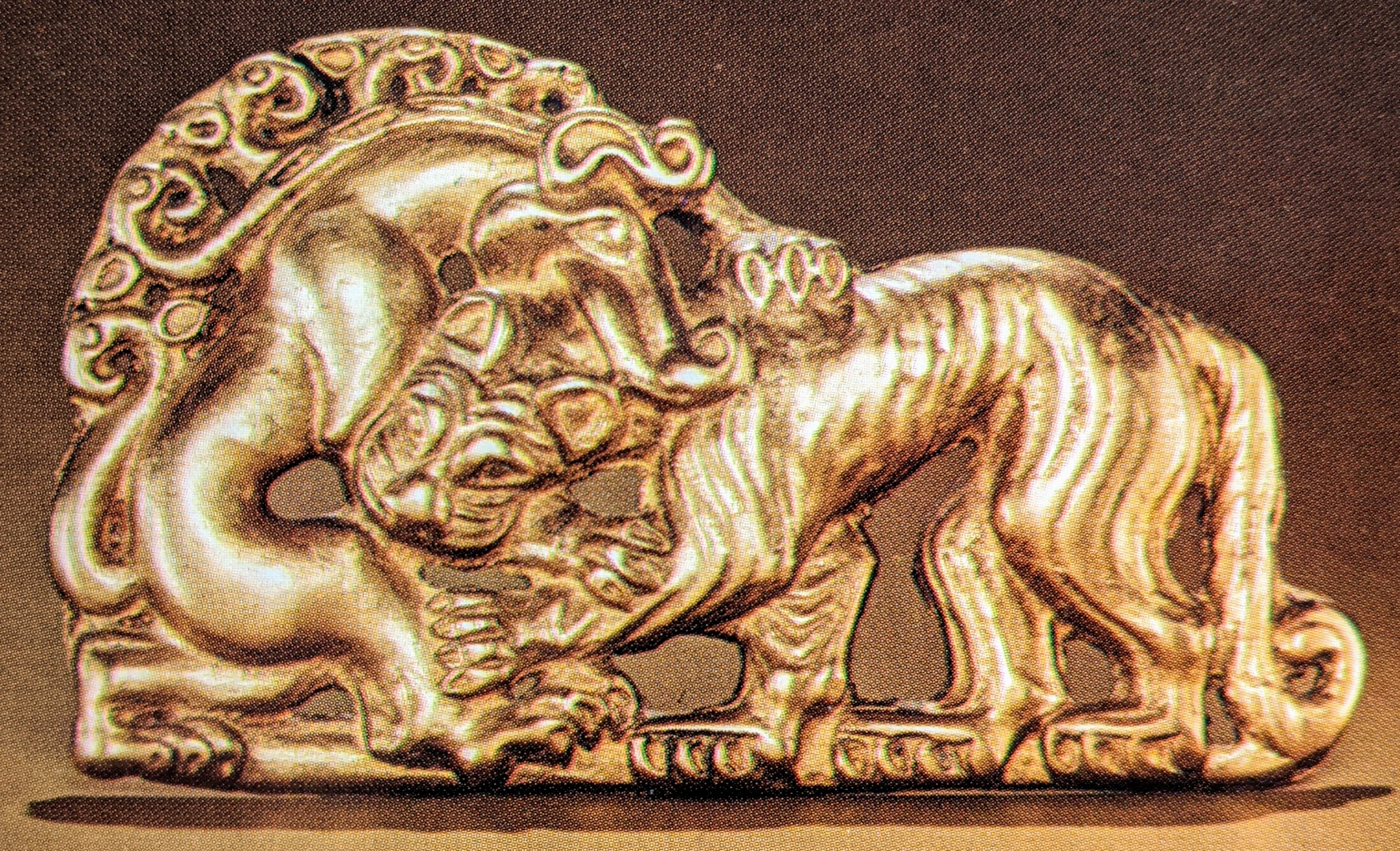 Boar and Tiger fighting gold plaque