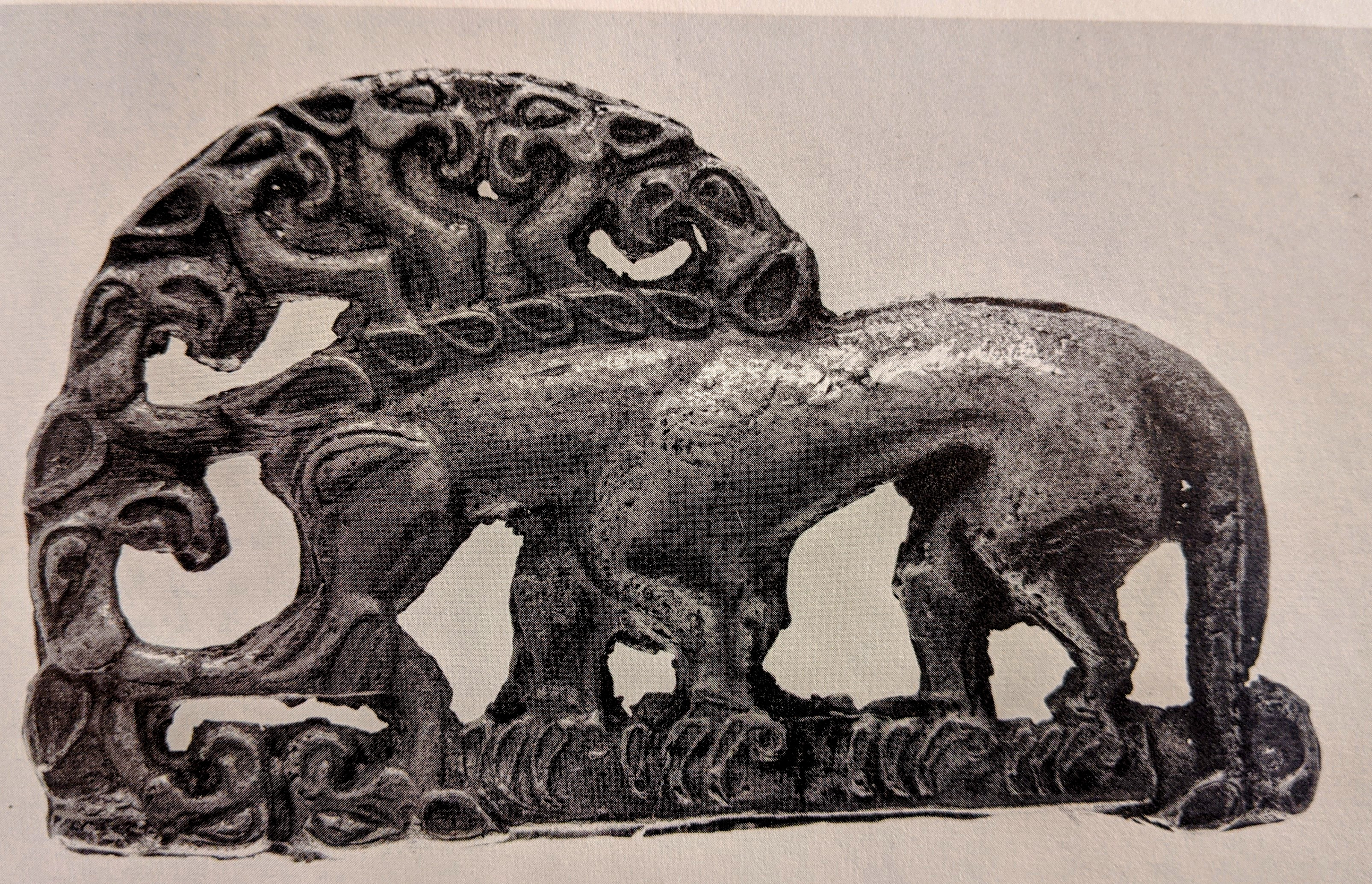 Boar with birds heads gold belt plaque