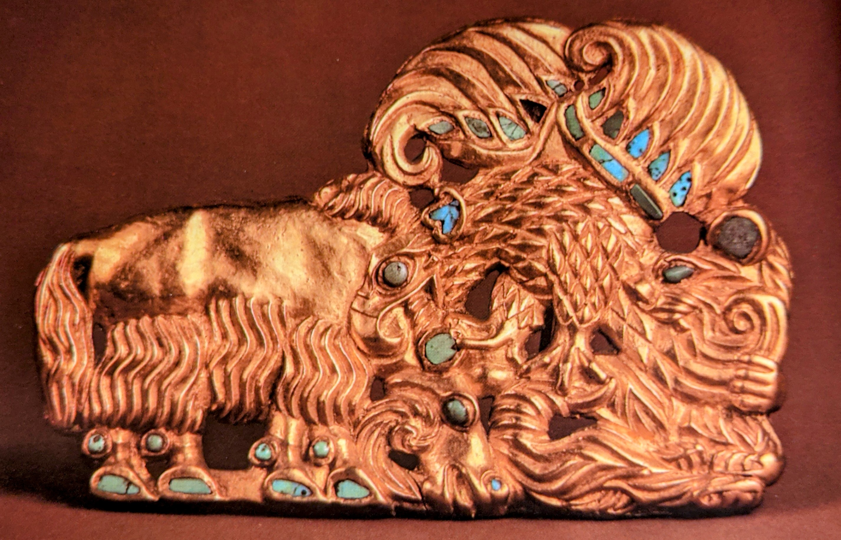 Gold and turquoise belt plaque