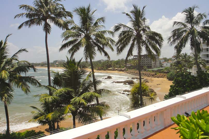 The view from the pool area at Mount Lavinia Hotel, Sri Lanka
