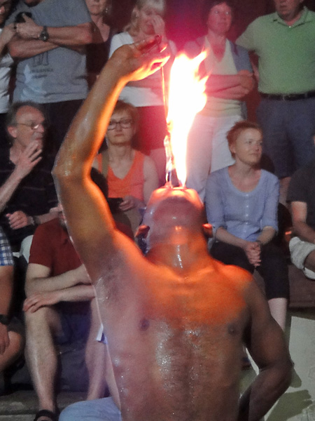 Fire eater in Sri Lanka