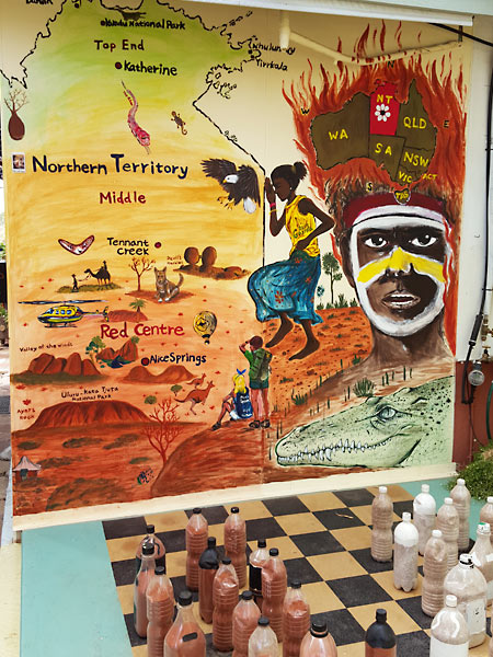Mural at the quirkiest hostel in the Red Centre Australia