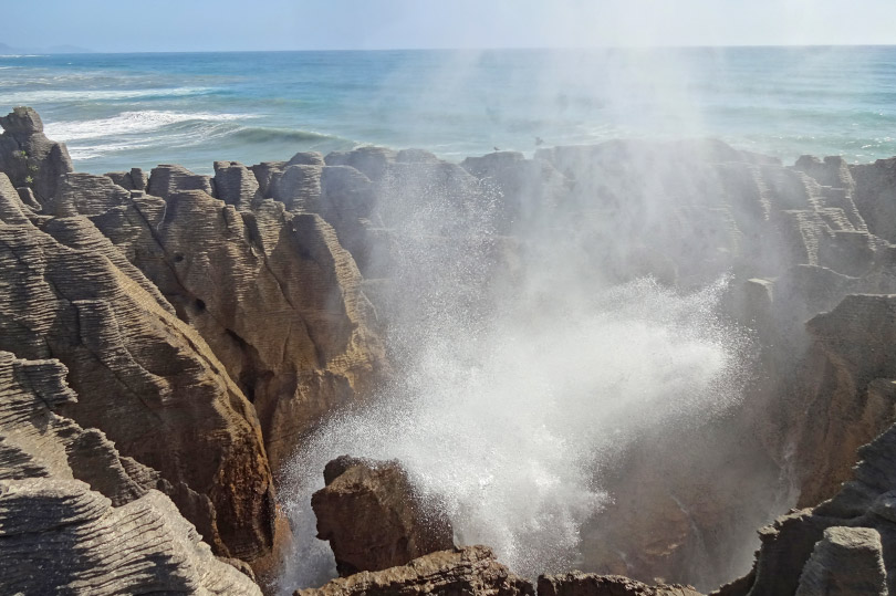 Blowhole at Punakaiki Pancake Rocks in New Zealand