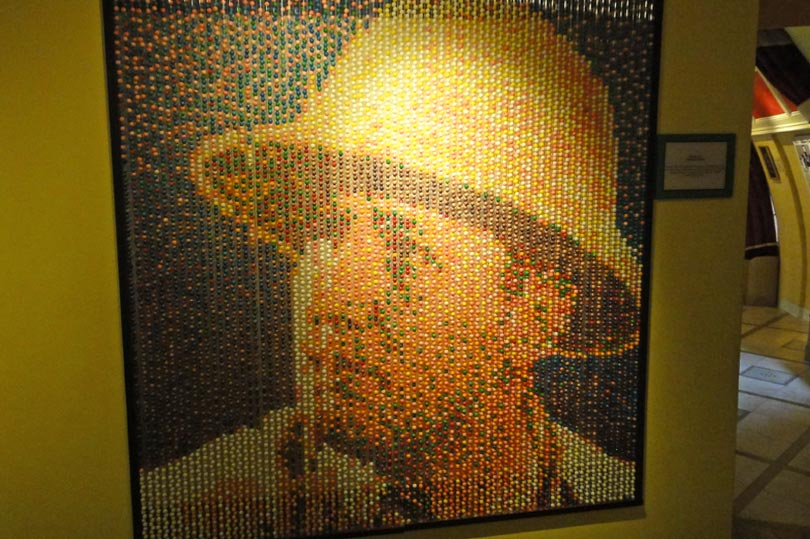 Portrait of Robert Ripley made from candy at Ripley's Believe it or not London