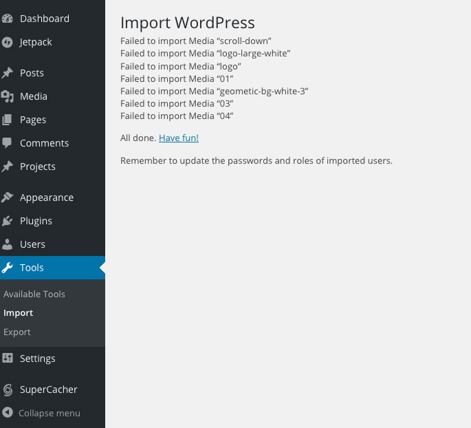 WordPress Importer Failed To Import Some of the Media Files 01