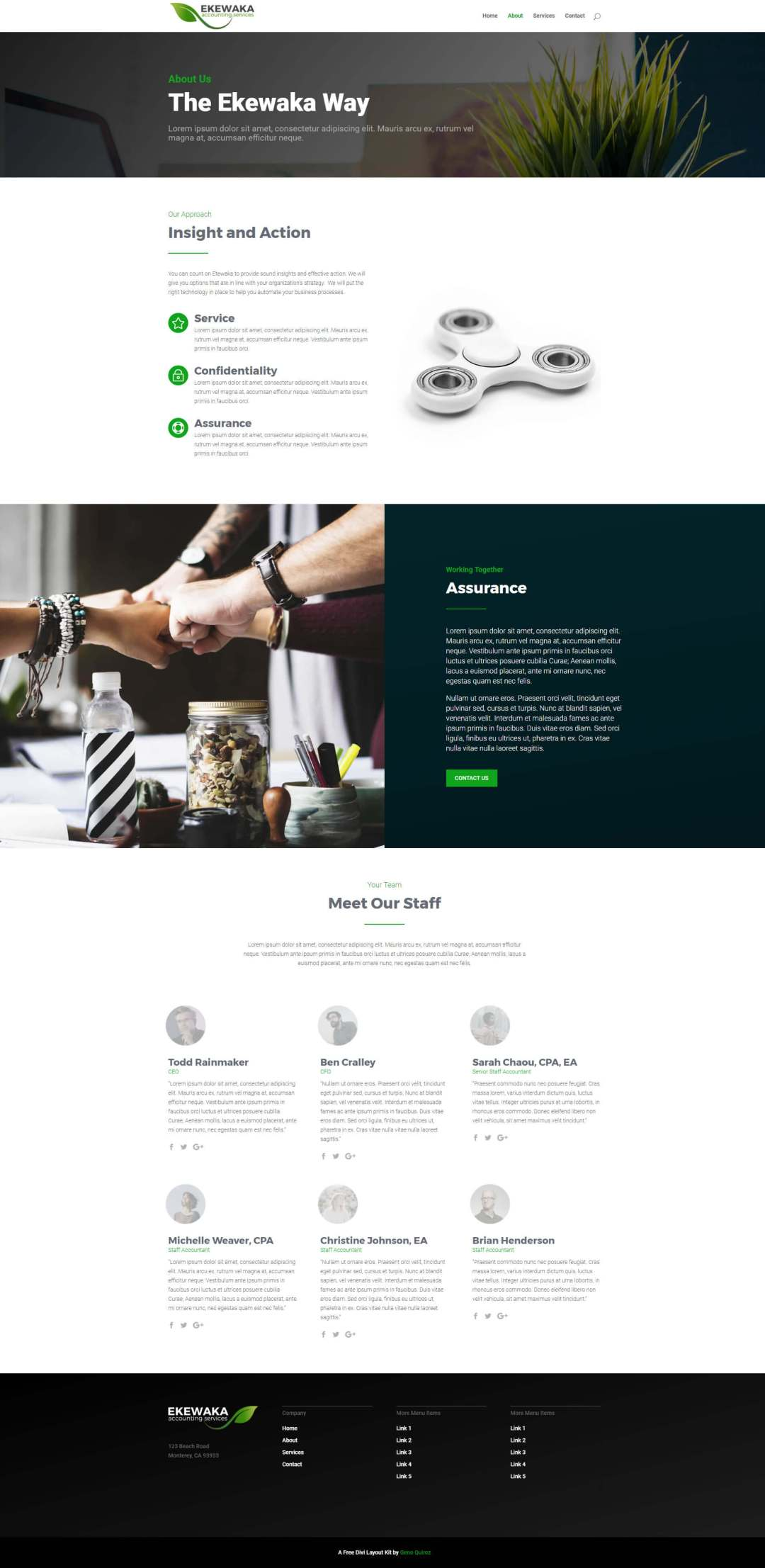 Green Business Divi Layout Kit About Page