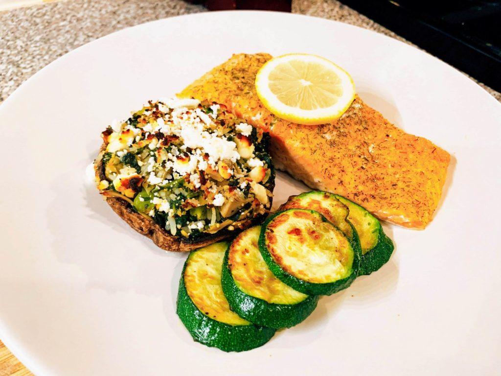 One Pan Roast_Salmon_Zucchini_Stuffed Mushroom