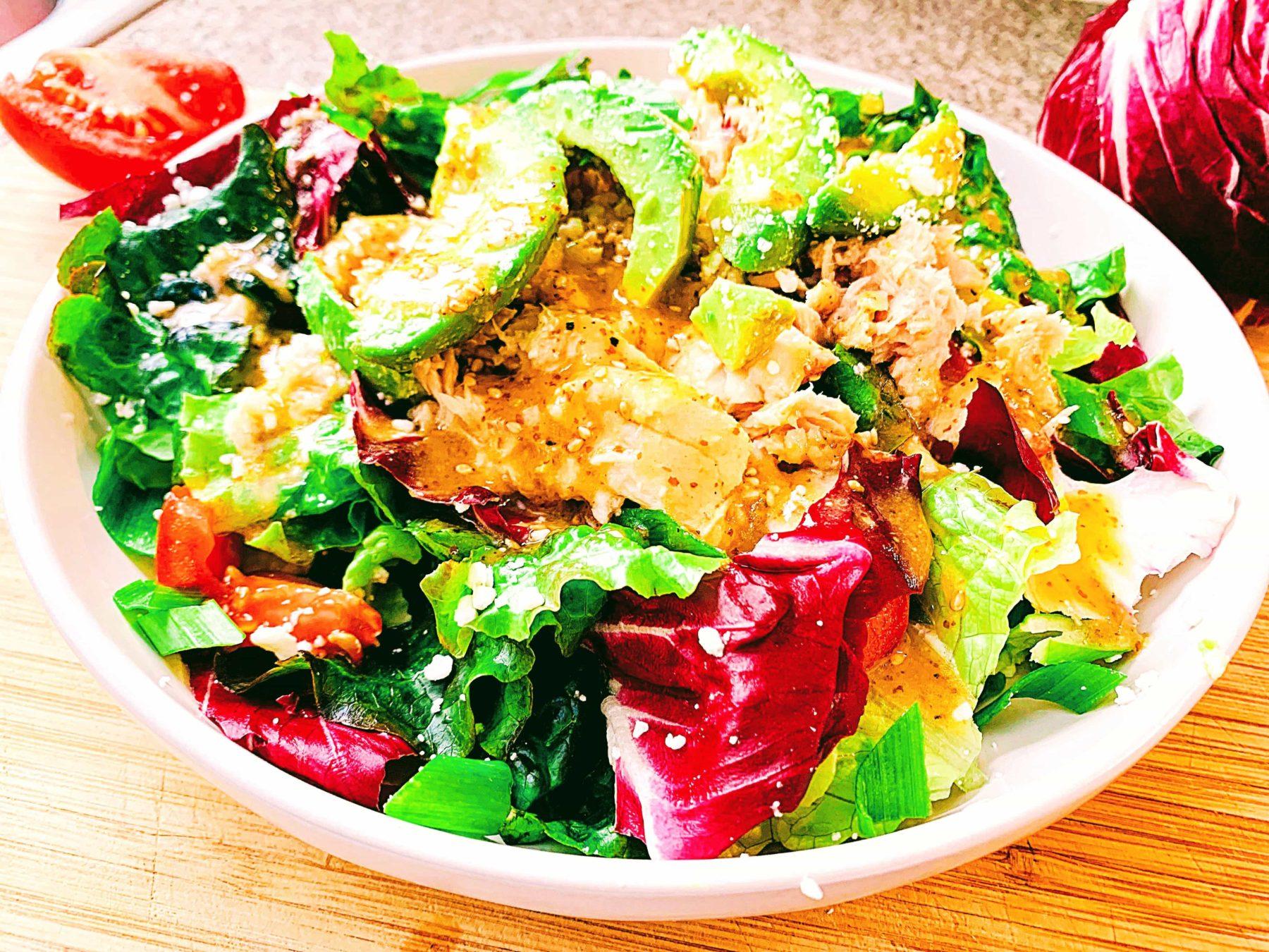 Tuna Avocado Salad with Sesame Honey Maple Dressing