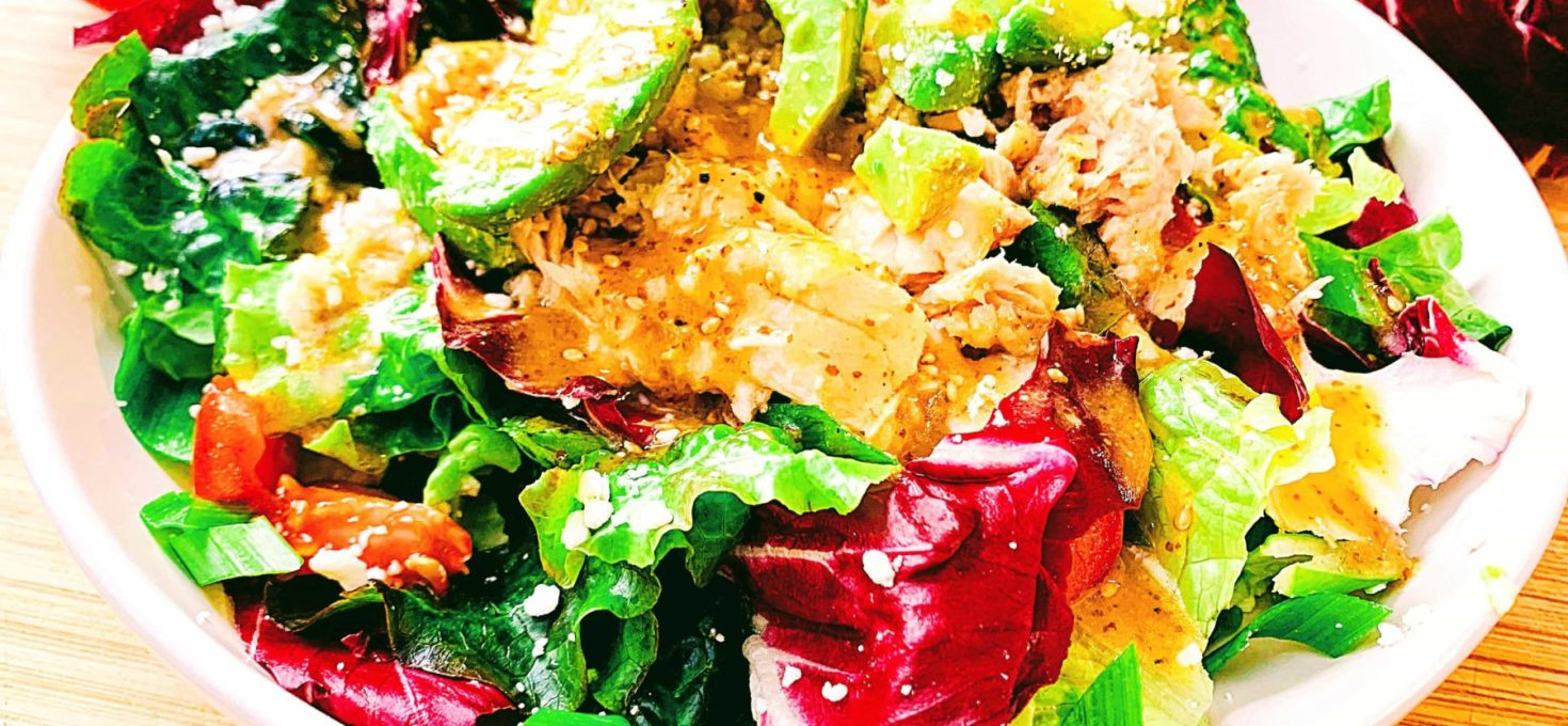 Tuna & Avocado Salad with Sesame Maple Dressing
