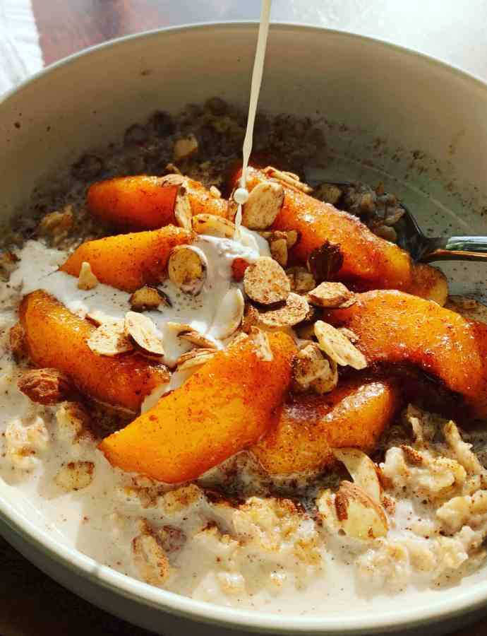 Peach Cobbler Oatmeal with Cream