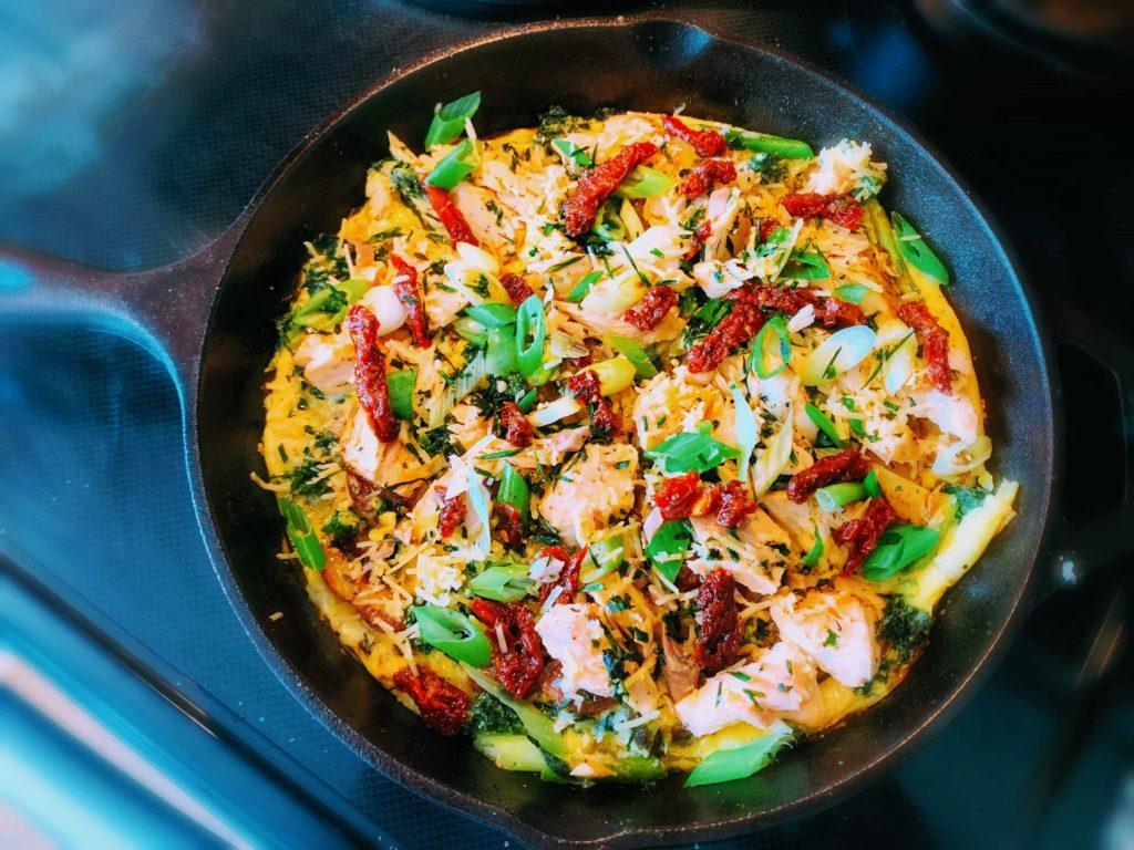 Roasted Salmon and Veggie Stove-top Frittata