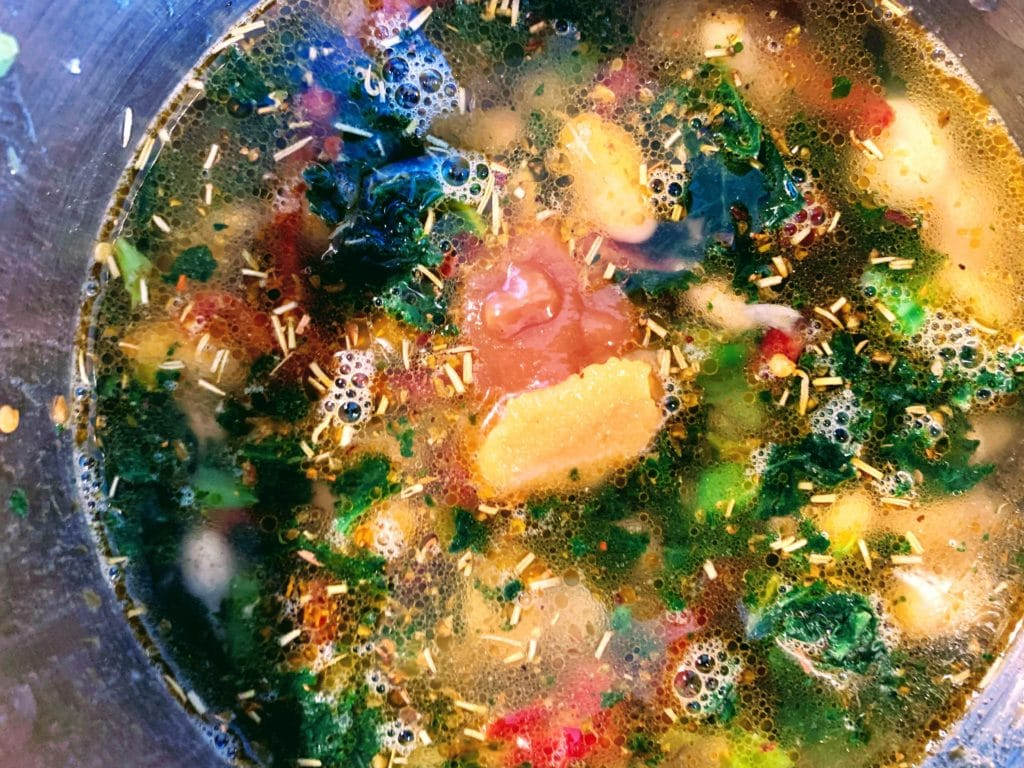 Tuscan Soup bring to low boil