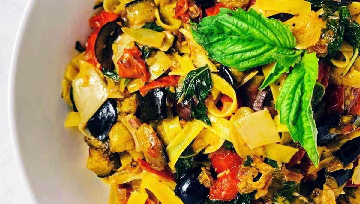Mediterranean Roasted Eggplant & Tomato Pasta