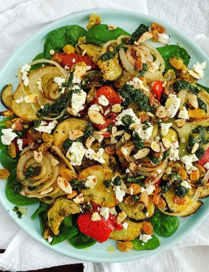 Warm Roasted Veggie Salad with Basil Oil