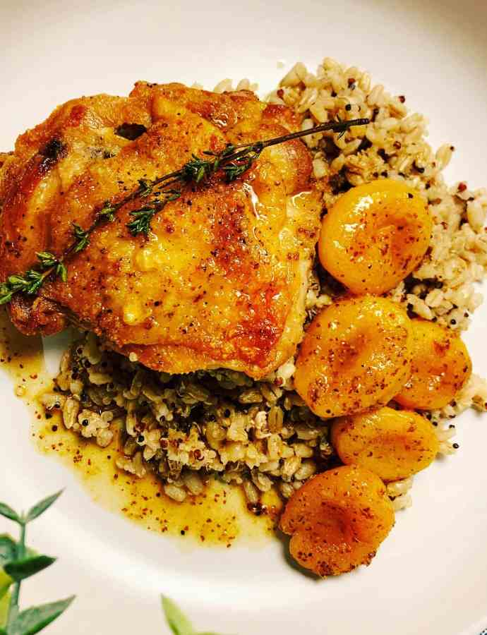 Honey Mustard Chicken with Apricots & Thyme
