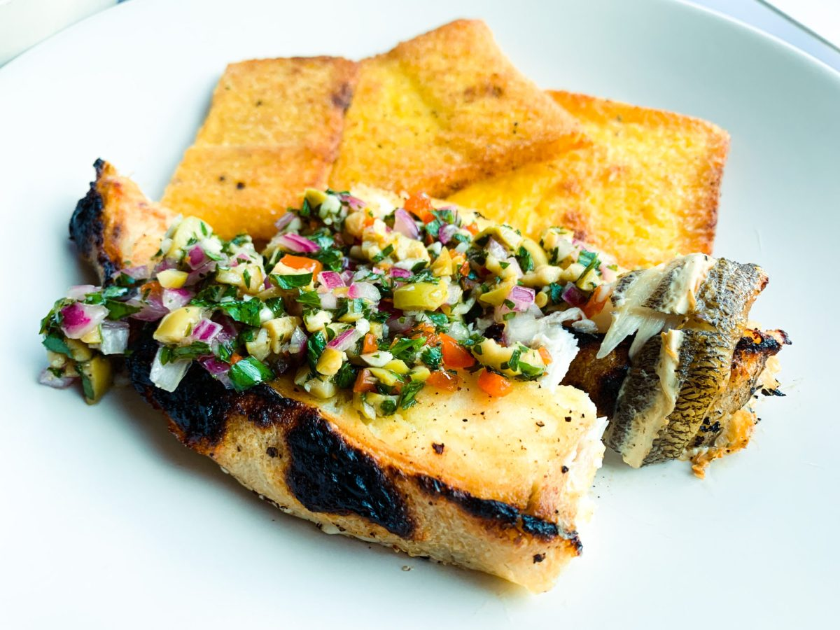 Green Olive Salsa Verde_with grilled fish_polenta cakes