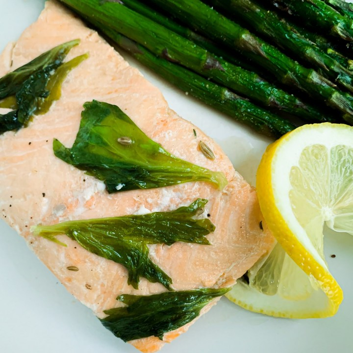 Celery Leaf & Fennel Poached Salmon_topview