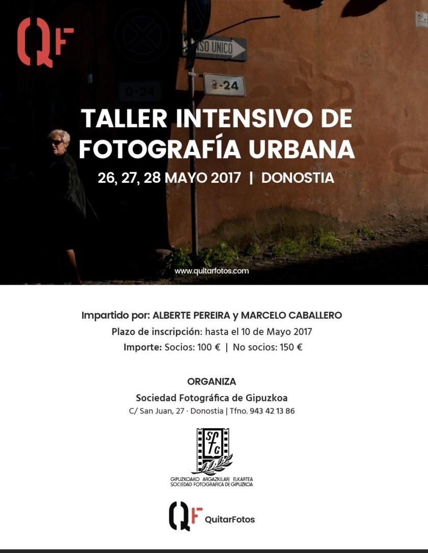 Cartel Taller de Fotografía Urbana en San Sebastian · QuitarFotos