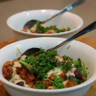 Tempeh and kidney bean chilli