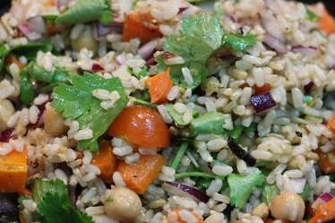 Roasted carrot, chickpea and brown rice salad.