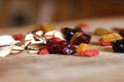 Flaked almonds, goji berries, tart cherries, golden raisins and cranberries.