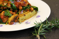 Olive and rosemary polenta with braised chickpeas.