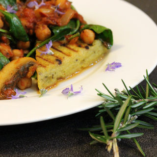 Olive and rosemary polenta with braised chickpeas
