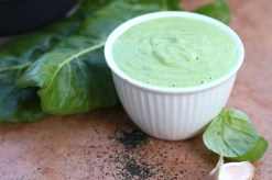Freshly made green cashew sauce.