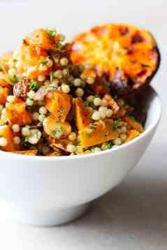 Israeli couscous salad with burnt citrus dressing.