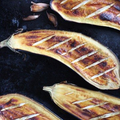 Roasted eggplants and garlic.