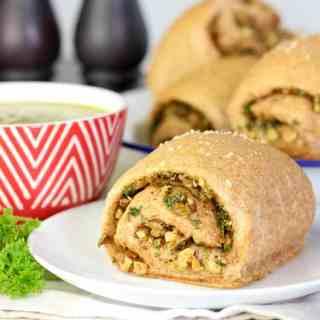 Walnut and olive spelt bread rolls