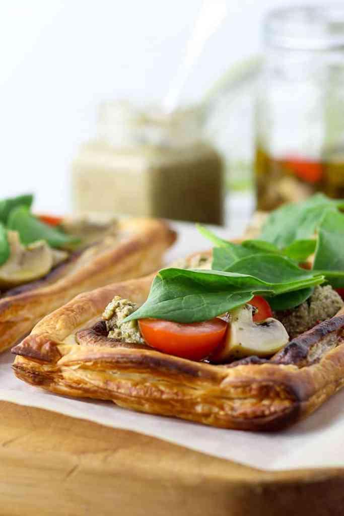 Onion, cashew and mushroom tart.