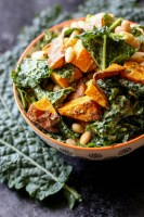 Kumara, kale and cannellini bean salad.
