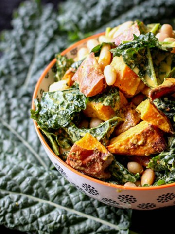 Kumara, kale and cannellini bean salad.
