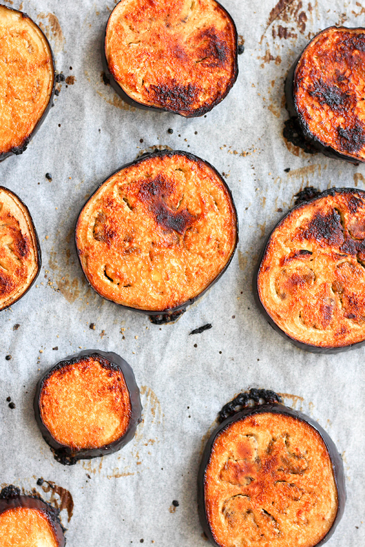 Citrus and miso glazed eggplant, fresh from the oven.