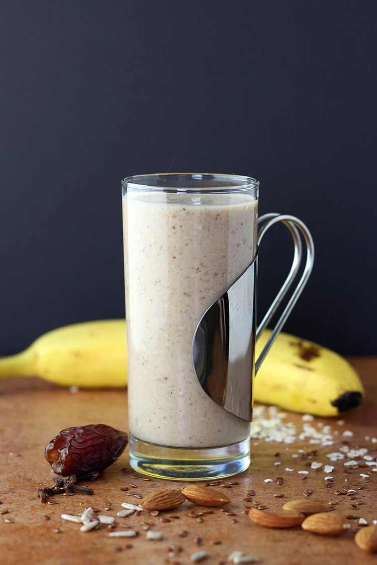 Pumpkin pie spiced breakfast smoothie.