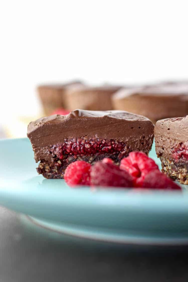 Chocolate and raspberry mini cheesecakes.