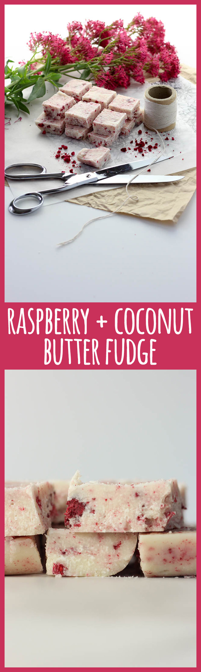 This pretty coconut butter fudge with freeze dried raspberries flecked through it is allergy friendly and a healthier sweet treat or edible gift for people who are trying to limit their sugar intake.