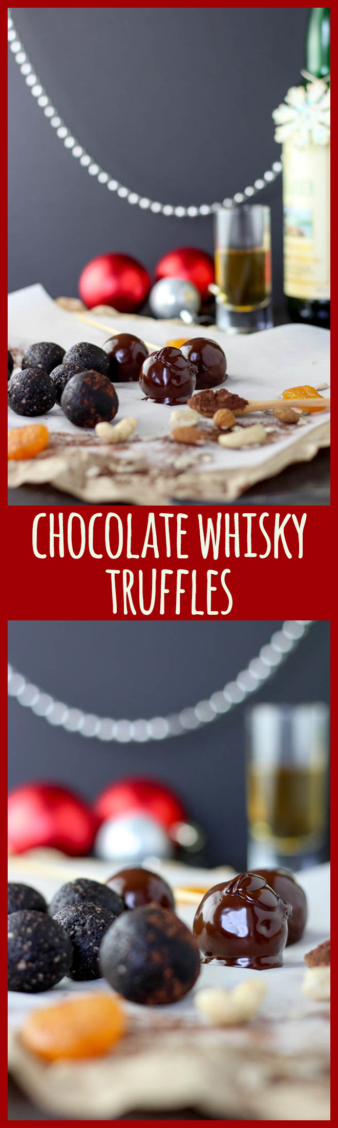 These truffles are Decadent with capital D. Dark and chocolatey, moist and very adult with the flavour of a good single malt whisky running through them. Just what Santa ordered.